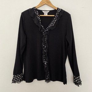 Exclusively Misook M Polka Dot Ruffle Cardigan